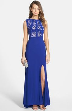Free shipping and returns on Morgan & Co. Lace Bodice Gown at Nordstrom.com. Dramatic entrances are guaranteed when you sweep in wearing a statuesque sleeveless gown crowned by a lace bodice. A thigh-high side slit and trailing skirt ensure your entrance and exit are equally striking.