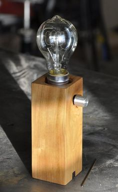Stéphane Hubert Design - Reclaimed cherry wood lamp with American walnut...