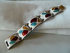 "RARE SIGNED ""KAY DENNING"" ENAMEL ON COPPER BRACELET! C.1960'S MOD/GORGEOUS COLOR (11/16/2013)"