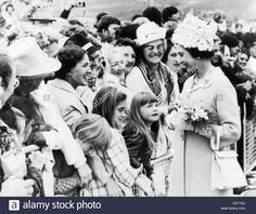 Royal visit to the Isle of Man. The Queen greets crowds in Douglas. 3rd August 1972. Stock Photo