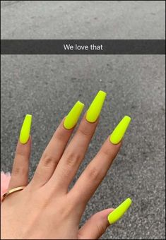 Top 55 coffin nails ideas for this summer 2019 16 Top 55 coffin nails ideas for this summer 2019 16 Neon Acrylic Nails, Neon Nails, Summer Nails Neon, Glitter Nails, Aycrlic Nails, Manicure, Matte Nails, Swag Nails, Nails Yellow