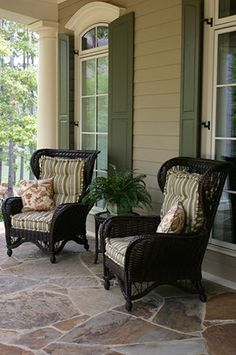 Black wicker chairs on the porch Outdoor Rooms, Outdoor Living, Outdoor Patios, Outdoor Decor, Southern Porches, Country Porches, Wicker Furniture, Front Porch Furniture, Front Porch Chairs