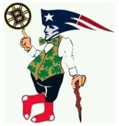 Lucky with Pat the Patriot head wearing Red Sox spinning the spoked Bruins puck