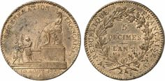 Revolution. Convention, 1792-1795. 5 Decimes régénération 1793 A (Paris mint). Obv: Isis providing water for the French Regeneration. Rev: Legend in 3 lines within wreath. Copper. 24.68 grams. Mazard 261. Gad. 390/1.