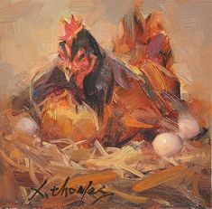 """Daily Paintworks - """"HEN"""" - Original Fine Art for Sale - © Thomas Xie Chicken Pictures, Bird Pictures, Pictures To Paint, Rooster Painting, Rooster Art, Chicken Painting, Chicken Art, Tree Sketches, Animal Sketches"""
