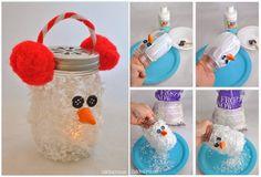 Creative Ideas - DIY Snowman Mason Jar Luminary Ornament | iCreativeIdeas.com Follow Us on Facebook --> https://www.facebook.com/iCreativeIdeas
