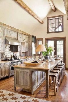 30 Most Popular Rustic Kitchen Ideas You'll Want to Copy Rustic Kitchen Ideas - Rustic kitchen closet is a lovely mix of country home and farmhouse decoration. Search 30 ideas of rustic kitchen design right here Rustic Country Kitchens, Rustic Kitchen Island, Rustic Kitchen Cabinets, Rustic Kitchen Design, Farmhouse Style Kitchen, Home Decor Kitchen, Home Kitchens, Kitchen Ideas, Kitchen Designs