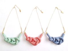 Criss Cross Rope Knot Necklace - Orange,Blue, Green
