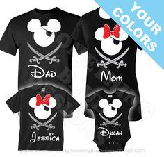 Family Mickey Minnie Vacation Pirate Shirts. Disney Family Shirt. Disney Vacation Shirt. Disney Pirate Night Shirt. Cruise Pirate Night.