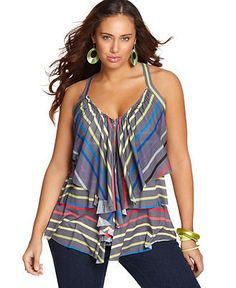 Belle Du Jour Plus Size Top, Sleeveless Striped Ruffled Zip Front - Junior Plus Tops - Plus Sizes - Macy's