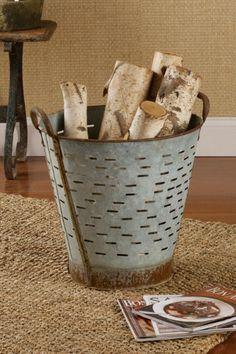 Vintage Metal Olive Basket - Metal Olive Basket, Metal Olive Bucket, Decorative Accents | Soft Surroundings
