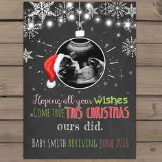 Printable Christmas pregnancy announcement by Anietillustration