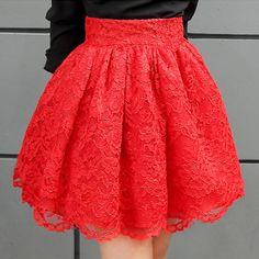 New Puff Women Lace Tulle Skirt Black Red faldas High waist Midi Mini plus size S M L Jupe Female Tutu Skirts 2016 Winter Spring