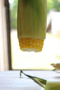 Big Bears Wife: 4 Minute Steamed Corn on the Cob ... incredibly clever ... steam it in the microwave and shake it out of the husk leaving silk behind!