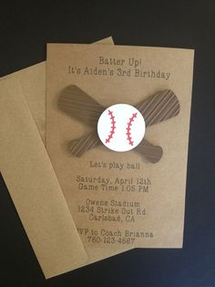 Baseball and Baseball Bat Invitations Custom Made for Kid's Birthday Party or Baby Shower on Kraft Paper, Set of 8 Cards and Envelopes on Etsy, $16.00