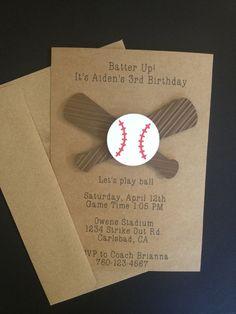 Baseball and Baseball Bat Invitations Custom Made by SimpleandPosh, $16.00