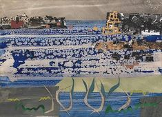 """""""Beach, Brittany"""" by John Piper (watercolour, oil and paper collage on paper) Landscape Art, Landscape Paintings, Landscapes, John Piper Artist, Abstract Watercolor Art, Our Lady, Collage Art, Collages, Mixed Media Art"""