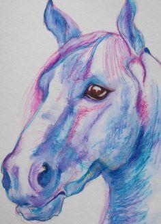 Horse - Original Drawing by Eula Wilkin  -  Water soluble Caran D'Ache Neocolor II Pastels on drawing board.    Unframed