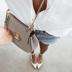 White-Button-Down-Denim-Cutoffs-Lace-Up-Flats-Saddle-Bag