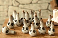"Polymer clay Jack Skellington ""Poison Bottle"" Spooky Gourds (Pixie Dust miniatures) These are really cool Polymer Clay Miniatures, Polymer Clay Projects, Polymer Clay Charms, Polymer Clay Creations, Clay Crafts, Halloween Clay, Halloween Miniatures, Fall Halloween, Halloween Crafts"