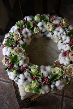.Stunning Wreath..! Love the use of the cotton Balls.