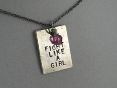 FIGHT LIKE A GIRL Cancer Awareness Necklace  Cancer by TheRunHome, $23.00