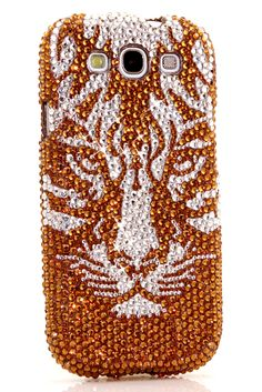 Girly Golden Tiger Design case Samsung Galaxy S3 unique phone cover bling glitter DIY for girls