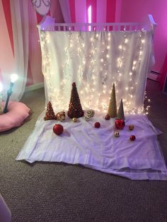 Diy backdrop for infant holiday photo shoot! I used my daughters crib the drape some white sheets and Christmas lights from then used some tinsel mini Christmas trees and Christmas ornaments for props Baby Christmas Photos, Toddler Christmas, Holiday Pictures, Christmas Backdrops, Christmas Trees, Christmas Lights, Christmas Ornaments, Diy Christmas, Xmas