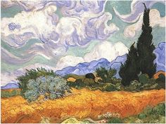Wheat Field With Cypresses, Van Gogh.  I love the bluey purpley sky and mountains.