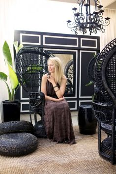 a peek inside: valerie killeen's o. Wicker Chairs, Wicker Furniture, Painted Furniture, Deco Bobo, Dream Home Design, House Design, Modern Balcony, Outdoor Rooms, Indoor Outdoor