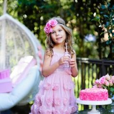 Little Girl Celebrate Happy Birthday Party With Rose Outdoor Stock Image - Image of happy, happiness: 40026121