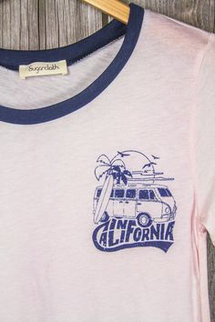 California V-Dub Van Ringer Tee - Pale Pink