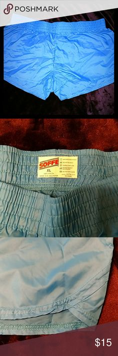 NWOT Junior's XL Soffe Blue Nylon Sports Shorts Purchased and never worn. Blue nylon sports shorts with a cute retro look to the side seams.  Soffee Junior's XL. Soffe Shorts