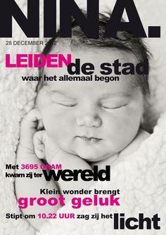 Geboorte-aankondiging in de vorm van een tijdschrift