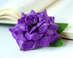 Floral brooch Purple rose broach Felted rose jewelry Purple flower jewelry Mother of bride gift ideas For mom Fall trends Autumn fashion