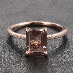 Claw Prongs Emerald Cut 6x8mm Morganite H SI Diamonds 14k Rose Gold Wedding Ring   eBay