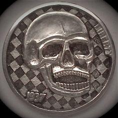 DIMAS SÁNCHEZ MORADIELLOS HOBO NICKEL - DEATH RACER - 1937 BUFFALO NICKEL Hobo Nickel, Rey, Skulls, Buffalo, Cactus, Coins, Death, Carving, Printmaking