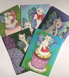 #ACEO print BONUS PACk #cat lovers fairies on sale - five cards for the price of 4! $19.99 (regular price $25)