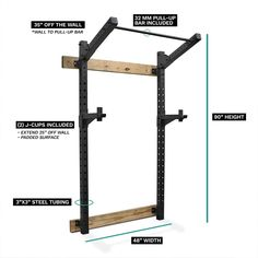 Wall-Mounted Squat Rack/Pull-up Rig without sacrificing space or your budget with the Titan Slim Rack. Perfect setup for someone who wants to save floor space without having to deal with any folding and unfolding rack parts. Similar to foldable squat rack Home Made Gym, Diy Home Gym, Gym Room At Home, Gym Rack, Half Rack, Home Gym Garage, Bar Workout, Gym Design, Workout Machines