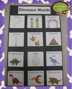 Dinosaur Words Writing Center (Mrs. Albanese's Kindergarten Class) great idea for word wall