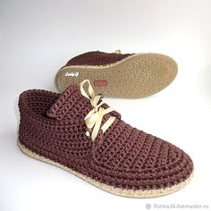 Кеды вязаные, уличные, коричневый, хлопок - купить или заказать в интернет-магазине на Ярмарке Мастеров - FDHGLRU | Удобные и всегда модные кеды для прогулок по…