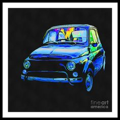 Fiat Framed Print featuring the painting Fiat 500 Pop Art by Edward Fielding