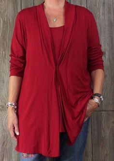 Nice J Jill XL size Red Tank Top Long Sleeve Jacket Twin Set Womens Career Casual