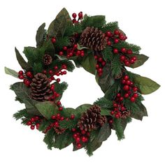 Faux berry wreath with magnolia leaves and pinecones. Product: WreathConstruction Material: Silk and plastic