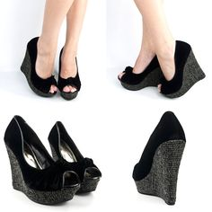 New Black White Open Peep Toe High Heel Platform Knotted Woven Wedge Sandal Pump | eBay
