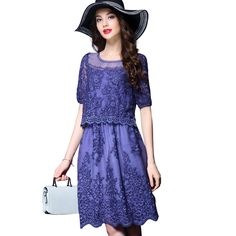 Summer New Women Fashion Short Sleeved Lace Embroidery Line Holiday Two Hollow Out Elegant Retro Princess Attractive Lady Dress