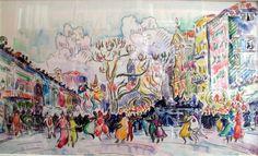 "artist-signac: ""Carnival at Nice, Paul Signac Medium: chalk,watercolor,paper"" Paul Cezanne, Paul Signac, Impressionist Landscape, Post Impressionism, Landscape Paintings, Landscapes, William Turner, John Singer Sargent, Paul Klee"
