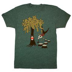 Baum-Vs Holzfäller - Unisex Herren T-shirt lustige Humor Woodland Axt Plaid Flanell Natur Bart T-Shirt Eco Forest Green GivingTree Tshirt