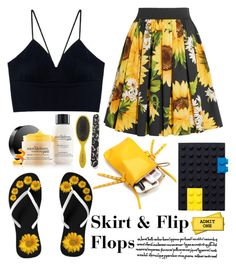 """""""Skirt & Flip Flops"""" by emcf3548 ❤ liked on Polyvore featuring Dolce&Gabbana, philosophy, Drybar and Mark's"""