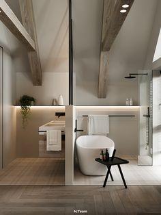 VILLAGGO HOUSE on Behance Laundry Room Bathroom, Bathroom Interior Design, Natural Wood, Bathtub, Modern, House, Furniture, Behance, Home Decor